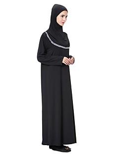 baratos Vestidos-Mulheres balanço / Abaya / Kaftan Vestido Sólido Médio
