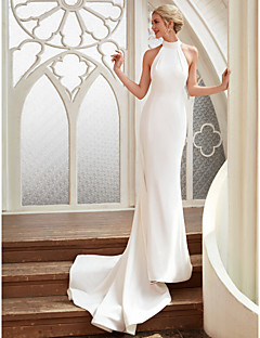 cheap Wedding Dresses-Sheath / Column Halter Neck Court Train Chiffon / Satin Made-To-Measure Wedding Dresses with by LAN TING BRIDE® / Open Back