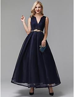 billiga Aftonklänningar-A-linje V-slits Ankellång Elastan Cocktailfest / Bal Klänning med Bälte / band av TS Couture®