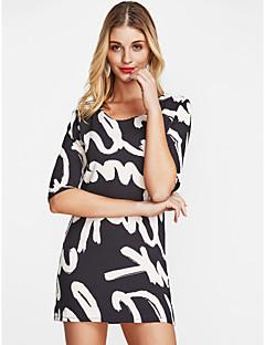 お買い得  レディースドレス-女性用 プラスサイズ ワーク Tシャツ コットン ルーズ / シフト / チュニック ドレス - フラワー / プリント, レタード 膝上