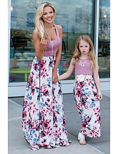 billige Sett med familieklær-Baby Mamma og meg Ensfarget / Blomstret / Fargeblokk Ermeløs Kjole