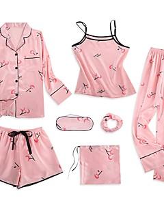 baratos Roupão & Camisola-Mulheres Decote Quadrado Conjunto Pijamas Geométrica