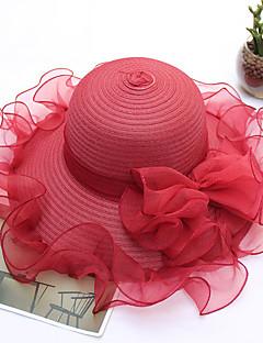 billige Trendy hatter-Dame Fest / Ferie Bøttehatt / Solhatt - Perler / Drapering / Netting, Ensfarget