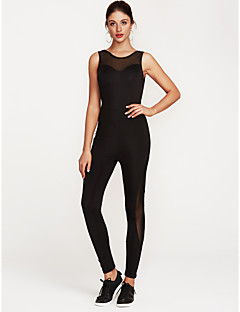 billige Jumpsuits og sparkebukser til damer-Dame Sport Grunnleggende Svart Rosa Sluk til storfisk Tynn Body, Fargeblokk Netting / Lapper M L XL Ermeløs / Sexy