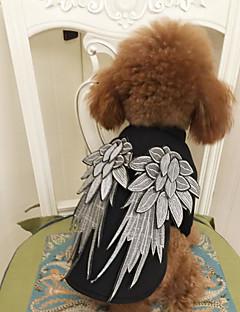 billiga Hundkläder-Hund / Katt Dräkter / Kostymer / Tröja Hundkläder Ängel Svart Terylen Kostym För husdjur Herr / Dam Unik design / Fritid