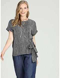 billige Dametopper-Tynn Store størrelser Skjorte Dame - Stripet, Sløyfe Gatemote Arbeid