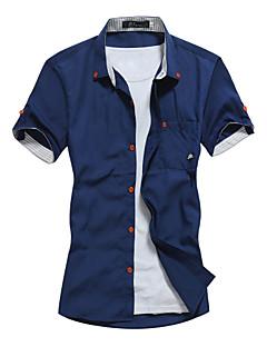 billige Herremote og klær-Bomull Tynn Klassisk krage Store størrelser Skjorte Herre - Ensfarget, Trykt mønster / Kortermet