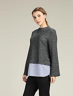 baratos Suéteres de Mulher-Mulheres Manga Alargamento Pulôver - Sólido, Renda