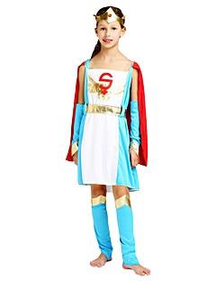 billige Halloweenkostymer-Superhelter Kostume Jente Barn Halloween Halloween Karneval Barnas Dag Festival / høytid Halloween-kostymer Drakter Turkis Ensfarget Halloween