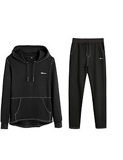 baratos Abrigos e Moletons Masculinos-Homens Moletom / activewear Set - Bordado, Sólido / Letra