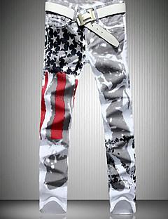 billige Herrebukser og -shorts-Herre Aktiv Jeans Bukser Geometrisk Svart og hvit