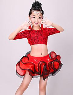 tanie Dziecięca odzież do tańca-Taniec latynoamerykański Stroje Dla dziewczynek Szkolenie / Wydajność Poliester Koronka / Zgnioty Rękaw 1/2 Wysoki Spódnice / Top