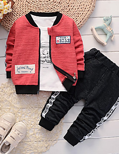 cheap Ships In 24 Hours-Baby Boys' Casual / Basic Daily / Sports Black & Red Jacquard Embroidered Long Sleeve Regular Regular Cotton / Linen Clothing Set Green / Toddler