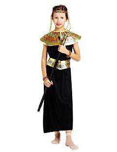 billige Halloweenkostymer-Farao Kostume Jente Tenåring Halloween Halloween Karneval Barnas Dag Festival / høytid Drakter Svart Ensfarget Halloween