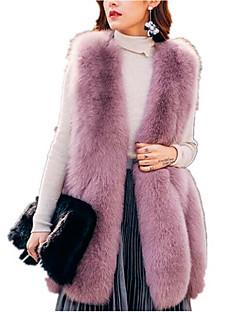 billige Kvinder Overtøj-Dame Ensfarvet Basale Pelsfrakke