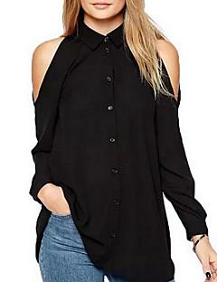 billige Skjorte-Krave Dame - Ensfarvet Basale Skjorte