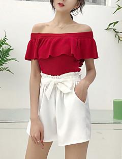 baratos Suéteres de Mulher-Mulheres Para Noite Manga Curta Pulôver - Sólido / Ombro a Ombro