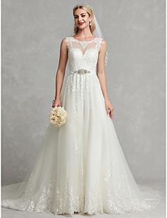 billiga Brudklänningar-A-linje Prydd med juveler Kapellsläp Spets / Tyll Bröllopsklänningar tillverkade med Spets / Kristallbrosch av LAN TING BRIDE® / Vacker i svart