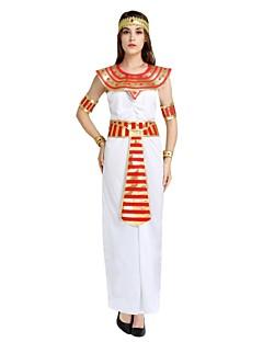 billige Halloweenkostymer-Egyptiske Kostymer Kostume Dame Halloween Karneval Maskerade Festival / høytid Halloween-kostymer Drakter Hvit Ensfarget Stripet Halloween Halloween