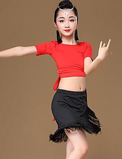 tanie Dziecięca odzież do tańca-Taniec latynoamerykański Stroje Dla dziewczynek Szkolenie / Wydajność Modalny Frędzel / Bandażowe Krótki rękaw Wysoki Spódnice / Top