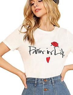 billige Kvinde Toppe-Dame - Blomstret Basale T-shirt