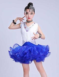 tanie Dziecięca odzież do tańca-Taniec latynoamerykański Suknie Dla dziewczynek Wydajność Spandeks / Organza Zgnioty / Frędzel / Materiały łączone Bez rękawów Ubierać