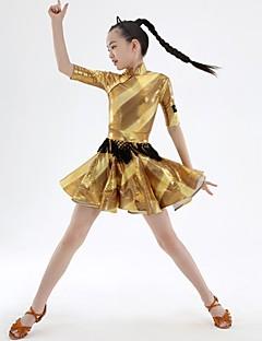 billige Danseklær til barn-Latin Dans Kjoler Jente Trening Elastan Kombinasjon Halvlange ermer Naturlig Kjole