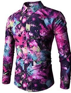 billige Herremote og klær-Skjorte Herre - Geometrisk, Trykt mønster Aktiv / Grunnleggende