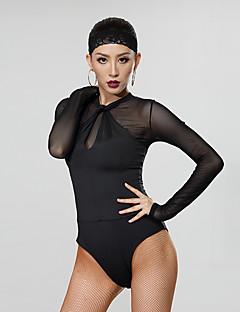 baratos Roupas de Dança Latina-Dança Latina Malha Mulheres Espetáculo Fibra de Leite Franzido / Combinação Manga Longa Collant / Pijama Macacão