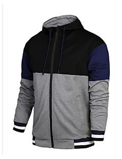 baratos Abrigos e Moletons Masculinos-Homens Básico Jacket Hoodie Estampa Colorida