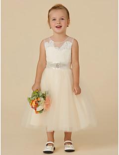 Χαμηλού Κόστους Φορέματα Καλλιστείων-Πριγκίπισσα Κάτω από το γόνατο Φόρεμα για Κοριτσάκι Λουλουδιών - Δαντέλα / Τούλι Αμάνικο Illusion Seckline με Χάντρες / Διακοσμητικά Επιράμματα / Ζώνη / Κορδέλα με LAN TING BRIDE®