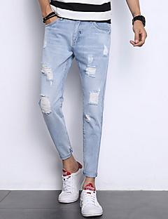 billige Herrebukser og -shorts-Herre Tynn Jeans Bukser - Ensfarget Hull Lyseblå