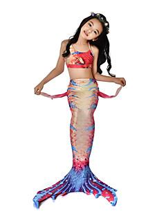 baratos Fantasias de Crianças-The Little Mermaid Bikini / Ocasiões Especiais Para Meninas Dia Das Bruxas / Carnaval Festival / Celebração Trajes da Noite das Bruxas Laranja sereia Vintage