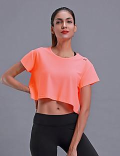 billiga Träning-, jogging- och yogakläder-Dam Beskuren Magtröja sporter Ensfärgat T-shirt För Dans, Löpning, Fitness Kort ärm Sportkläder Andningsfunktion, Snabb tork, Svettavvisande Elastisk Vit / Svart / Orange