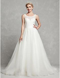 billiga Brudklänningar-A-linje Scoop Neck Kapellsläp Spets / Tyll Bröllopsklänningar tillverkade med Spets / Bälte / band av LAN TING BRIDE®