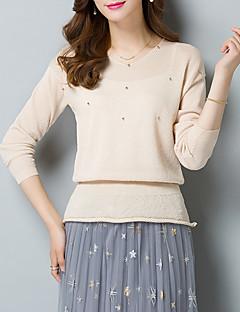 baratos Suéteres de Mulher-Mulheres Manga Longa Solto Pulôver - Sólido / Decote V
