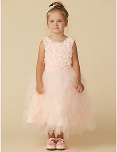 Χαμηλού Κόστους Φορέματα Καλλιστείων-Γραμμή Α Κάτω από το γόνατο Φόρεμα για Κοριτσάκι Λουλουδιών - Τούλι Αμάνικο Με Κόσμημα με Δαντέλα με LAN TING BRIDE®