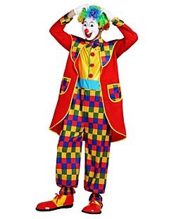 billige Halloween- og karnevalkostymer-Burlesk / Klovn Sirkus Kostume Herre Voksne Halloween Halloween Karneval Maskerade Festival / høytid Polyester Drakter Regnbue Ensfarget Rutet Halloween