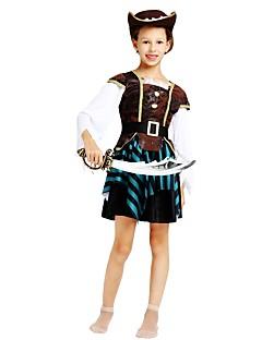 billige Halloweenkostymer-Pirat Kostume Jente Tenåring Halloween Halloween Karneval Barnas Dag Festival / høytid Drakter kaffe Ensfarget Stripet Halloween