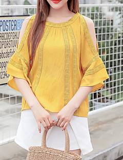 billige Bluse-Dame - Stribet Trykt mønster Basale Bluse
