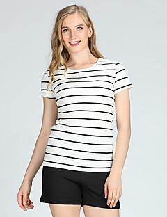 billige Dametopper-Skinny T-skjorte Dame - Stripet Grunnleggende / Kortermet / Vår / Sommer
