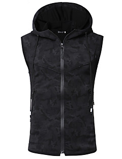 cheap Down Vest-Men's Daily / Going out Plus Size Regular Vest, Camouflage Hooded Sleeveless Cotton / Polyester Black XL / XXL / XXXL