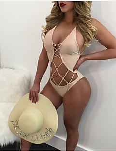 billige Bikinier og damemote 2017-Dame Grunnleggende Med stropper Trekant En del - Kryss, Cheeky Ensfarget