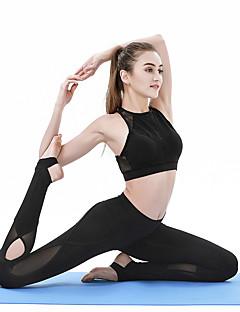 billiga Träning-, jogging- och yogakläder-Dam Utklippt / Genomskinliga leggings Yoga byxor - Svart sporter Ensfärgat, Mode Mesh Cykling Tights Pilates, Dans, Fitness Sportkläder Andningsfunktion, Fuktabsorberande, Snabb tork Elastisk