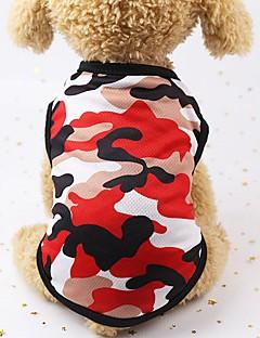 billiga Hundkläder-Hund / Katt / Små pälsdjur Jeansjackor / Jakke / Livväst Hundkläder Prickig / Geometrisk / Tryck Röd / Grön / Blå Cotton Kostym För husdjur Dam Sport och utomhus / Ledig / Sportig