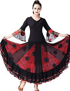 tanie Stroje balowe-Taniec balowy Stroje Damskie Spektakl Tiul Marszcząca się / Materiały łączone Rękaw 3/4 Natutalne Spódnice / Top