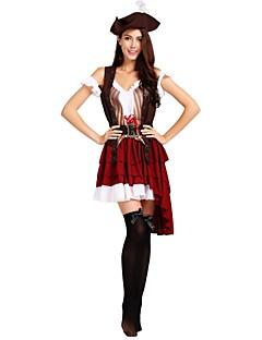 billige Halloweenkostymer-Pirates of the Caribbean Kostume Dame Voksen Halloween Halloween Karneval Maskerade Festival / høytid Drakter Brun Ensfarget Stripet Halloween