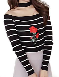 baratos Suéteres de Mulher-Mulheres Básico Pulôver - Listrado, Estampado