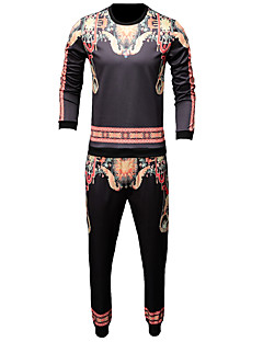 baratos Abrigos e Moletons Masculinos-Homens Delgado Manga Longa activewear Set Tribal Decote Redondo