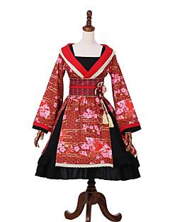 billiga Lolitamode-Klassisk / Traditionell Lolita Wa Lolita Prinsess Lolita Dam Klänningar Festklädsel Maskerad Kimono Cosplay Röd Sydd spets Klocka Långärmad Midi Kostymer